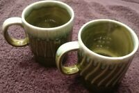 Vintage Green Drip Glaze 2 Coffee Mug Cup Made in Japan Stackable