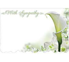 "50ct. LILY FLOWER ""With Sympathy"" Blank Florist Enclosure Cards Small Tags"