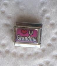 """LOVE U GRANDMA "" ON PINK 9MM CHARM-GRANDMOTHER, GRANDCHILDREN,"