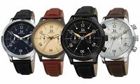 Men's Joshua & Sons Quartz 24 Hour Luminescent Hands Markers Ridged Strap Watch