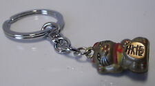 CHINESE WAVING CAT KEYRING 25mm Ring : New : Golden with Bell Feng Shui Fob
