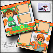 UhOh Spaghettios 2 premade scrapbook pages printed paper piecing Boy Girl Cherry