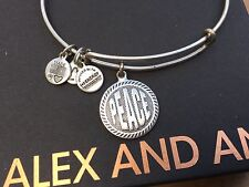 """RARE ALEX and ANI 2012 WORDS Are POWERFUL """" PEACE """" CHARM SILVER Bangle BRACELET"""
