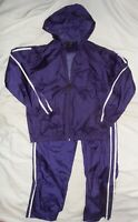 Vintage 80s 90s LAVON Purple Nylon Windbreaker TRACK SUIT Jacket Pants Size S
