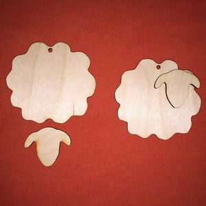 10 SHEEP LAMB n2 UNPAINTED BLANK PLAIN WOODEN PLAQUE SHAPE HANGING GIFT TAG
