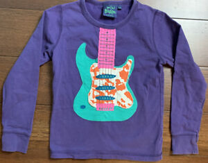 Mini Boden Long Sleeve Shirt Size 7/8 100% Cotton Purple w/ Guitar