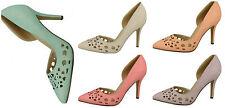 F9913- Ladies Anne Michelle Cut Out Court Shoes- 5 Pastel Colours- Great Price!