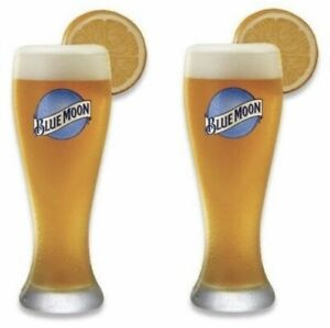 Blue Moon 16 oz Pilsner Beer Glass - Set of Two (2) Glasses - New & Free Ship