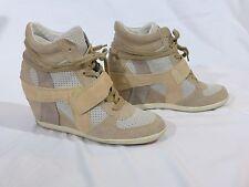 $225 ASH Women's Bowie High-Top Wedge Sneakers Brown Nut Beige EU38 fit US7