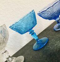 Brockwitz 1915 Jugendstil Pressglas Zuckerschale Weinlaub Schale Fußschale blau