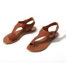 Women Retro Leather Beach Sandals Clip Toe Slippers Cut Out Flip Flops Soft Flat