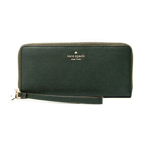 New Kate Spade New York Connie Slim Continental Leather Wallet Spruce Green Card