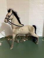 Vintage  Mid Century Flocked Velvet Plastic Model Horse