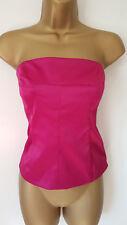 Bustier Corset top size 14 Pink satin look Oasis shouderless Bandeau stunning