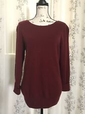 Prive 2-Ply 100% Cashmere Dark Red Boat Neck Sweater 3/4 Long Sleeve Size L