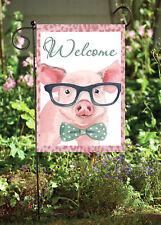 Welcome Piggy With Glasses Garden Soft Flag     **GARDEN SIZE**   FG1226