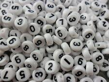 (11) 250 Perlen Kunststoff 7 mm Zahlen 0-9  Weiss Schwarz Kette Datum Basteln