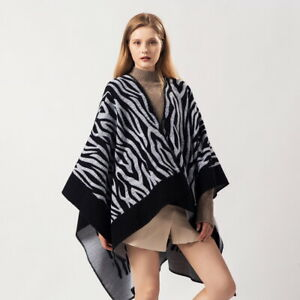 Winter Warm Poncho Blanket Wrap Shawl Cape Cloak Scarf Coat Top Animal Print Hot