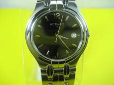 WITTNAUER SWISS MADE 10B00 MEN'S CASUAL WATCH S/S BLACK DIAL ANALOG