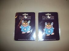 """New listing 2 pcs -2"""" Patch Ems brand iron-on appliques w/angels in blue robes/wings/halo"""