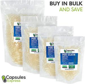 Size 000 Clear Empty Gelatin Pill Capsules Kosher Gel Gluten-Free Made in USA