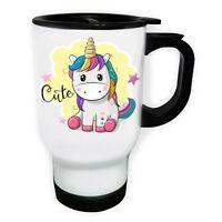 Cute Unicorn White/Steel Travel 14oz Mug ff521t