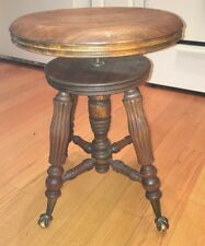 Antique Vintage Tonk Chicago Piano Stool Glass Claw Foot Adjustable
