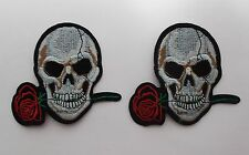 Skull with Flower Iron/Sew on Patches x 2