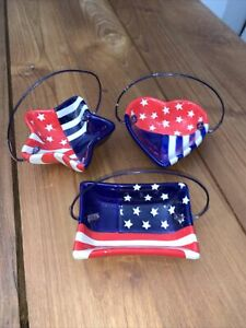 Patriotic Ceramic Candy/Nut Dishes-unbranded Set of 3 Heart, Star and Rectangle