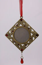 Cast Metal Vtg Antique Style Leaves Red Stones Hanging Picture Frame Ornament