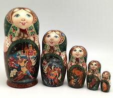 "Russian Fairy Tale ""Firebird"" Nesting DOLL Hand Carved Hand Painted Signed"