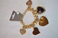 PILGRIM JEWELRY Swarovski Heart Charm Bracelet 16 Carat Gold Plated PRICE $14.95