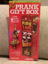 "PRANK GIFT BOX FRUIT CAKE FIRE LOG 4""x4""x13""  WINE BOTTLE SIZE FAKE GIFT NEW A2"