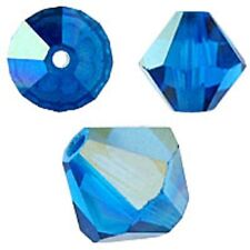 Swarovski Crystal Bicone.Capri Blue AB  6mm. Approx. 48 PCS. 5328