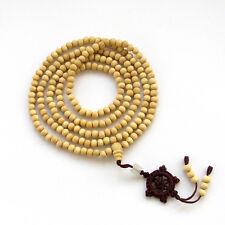 Tibet Buddhist 216 White Wood Prayer Beads Mala Necklace Bracelet Knot Pendant