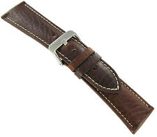 22mm Hadley Roma Brown Padded Stitched Genuine Leather Mens Watch Band 906