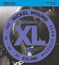D'ADDARIO EXL280 NICKEL XL PICCOLO BASS STRINGS, 4 STRING SET, 20-52