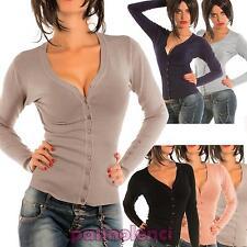 Cardigan maglioncino donna scollo V maglia bottoni pullover nuovo 6762A