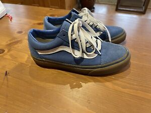VANS LADIES UK 4  OLD SKOOL BLUE CANVAS SUEDE TRAINERS shoes