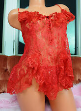 Vtg Escante Red Lace Sexy Sissy Camisole Nightie Top w String Thong Panties L