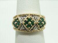 Stunning 14K Yellow& White Gold 4 Diamond 12 Emerald 10mm Ring Size 6 4.8g D8053