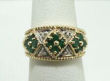 14K Yellow & White Gold 4 Diamond 12 Emerald 10mm Ring Size 6 4.8g D8053