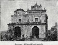 Montalcino: Chiesa di Sant'Antonio. Siena. Stampa Antica + Passepartout. 1901