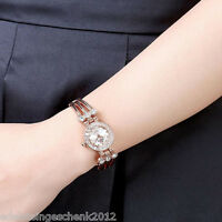 1 Rosegold Damenuhr Armbanduhr Metallband Edelstahl Armreif Strass 18cm A/7