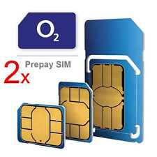 2x Pay As You Go PAYG O2 Micro Nano SIM Card Adapter for iPhone iPad Samsung