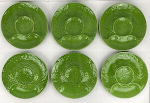 Green Snack Artichoke Plates Vintage Portugal Majolica 9 Inch Set Of 6 Dishes