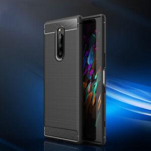 For Sony XA1 XA2 XA3 Ultra XZ3 XZ4 Slim Fiber Carbon Silicone Rugged Case Cover