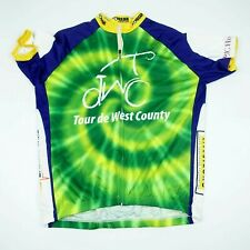 V Gear Mens Shirt Cycling Biker Jersey Tour De West County 2012 Green Yellow 2XL