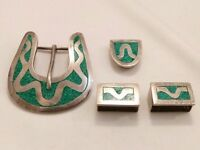 4 PCS MEXICO STERLING SILVER TURQUOISE INLAID BELT SET.