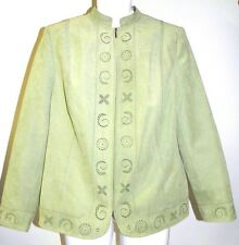 Conrad C Faux Suede Blazer Jacket Lightweight 100% Polyester Lime Green Size 14